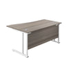 Right Hand Wave Office Desks grey oak white