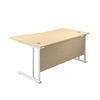 Right Hand Wave Office Desks maple white