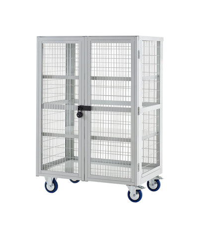 XD139060MLXX Lockable Cage Trolley with Steel Shelves