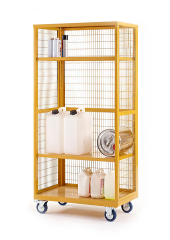 XW199060HZMY Open Front Hazardous Cage Trolley with Steel Shelves with props