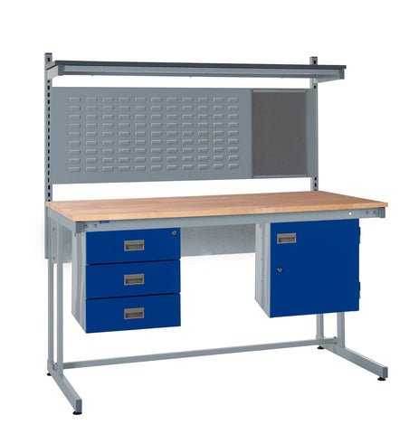 Cantilever Workbench and Accessories Kit D - Wood Worktop
