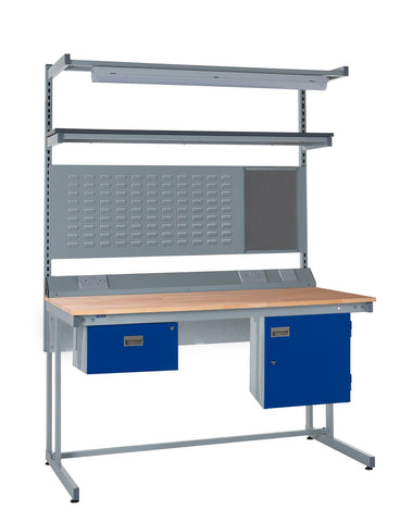 Cantilever Workbench and Accessories Kit E - Wood Worktop