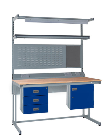 Cantilever Workbench and Accessories Kit F - Wood Worktop