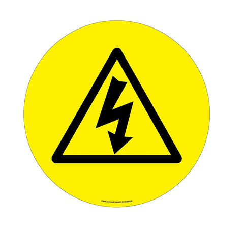 430mm Self Adhesive Floor Sign - Electrical Hazard