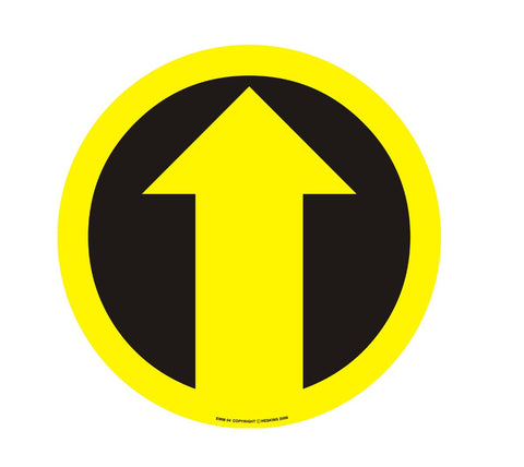 Heavy Duty 430mm Self Adhesive Floor Sign - Arrow (Black and Yellow)
