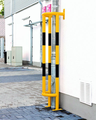 floor mounted vertical pipe protection barrier in use