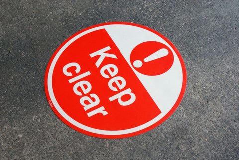 430mm Self Adhesive Floor Sign - Keep Clear (Red and White)