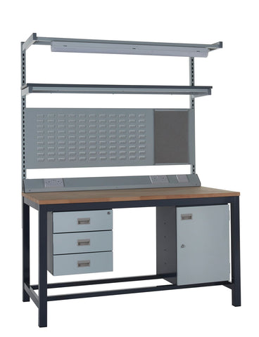 Heavy Duty Workbench and Accessories Kit F - Wood Worktop