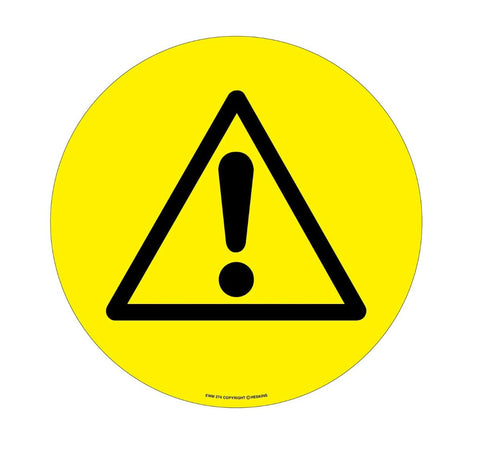430mm Self Adhesive Floor Sign - Yellow Warning Triangle