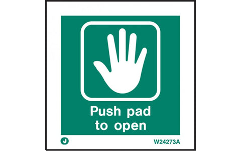 Fire Exit Push Pad To Open Sign
