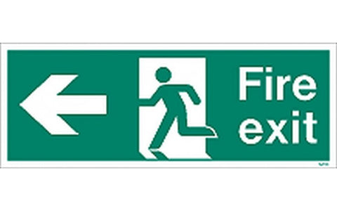 Fire Exit Sign With LEFT Arrow - Green / White