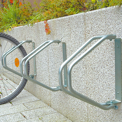 wall mounted outdoor cycle parking rack in use