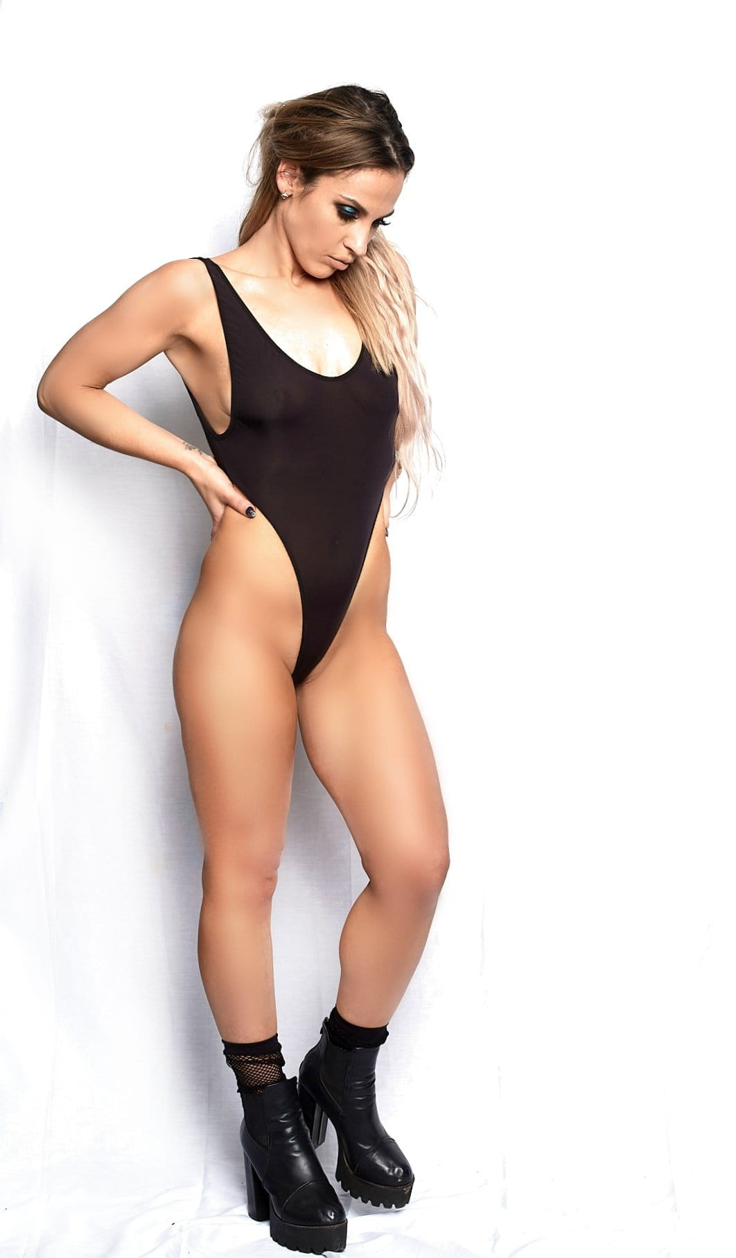 Thong Bodysuit w/ Sexy High-cut Legs - Cali Diamond