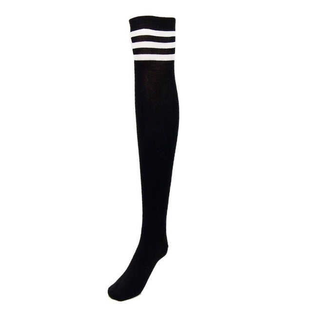 over the knee athletic socks, black - Cali Diamond