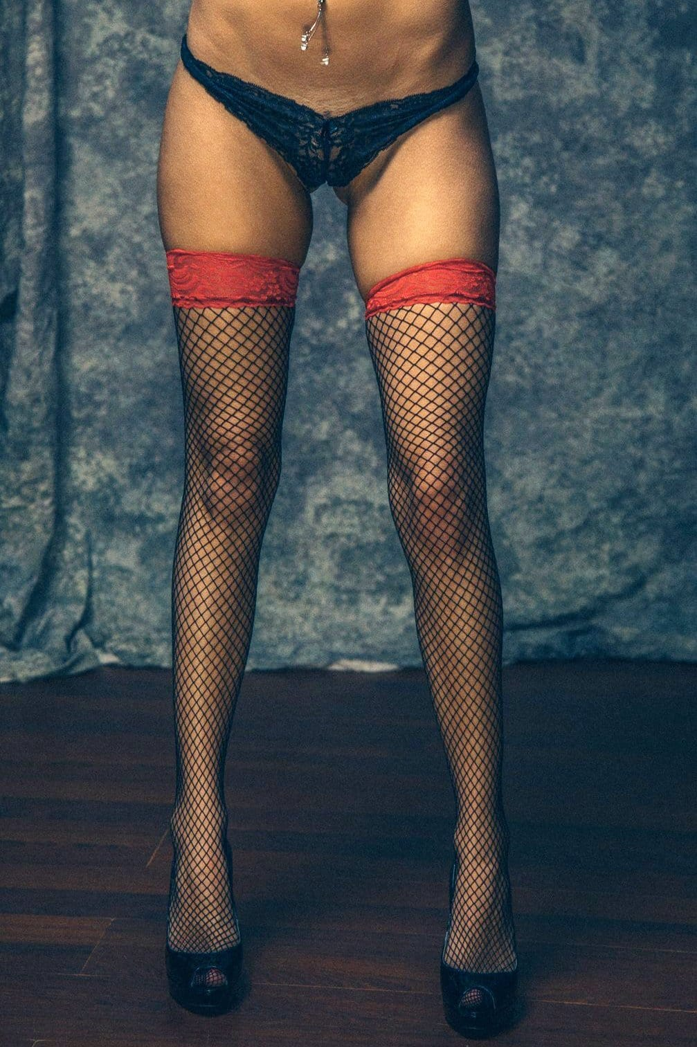 Black fishnet thigh highs sock / stockings with red elastic tops - Cali Diamond