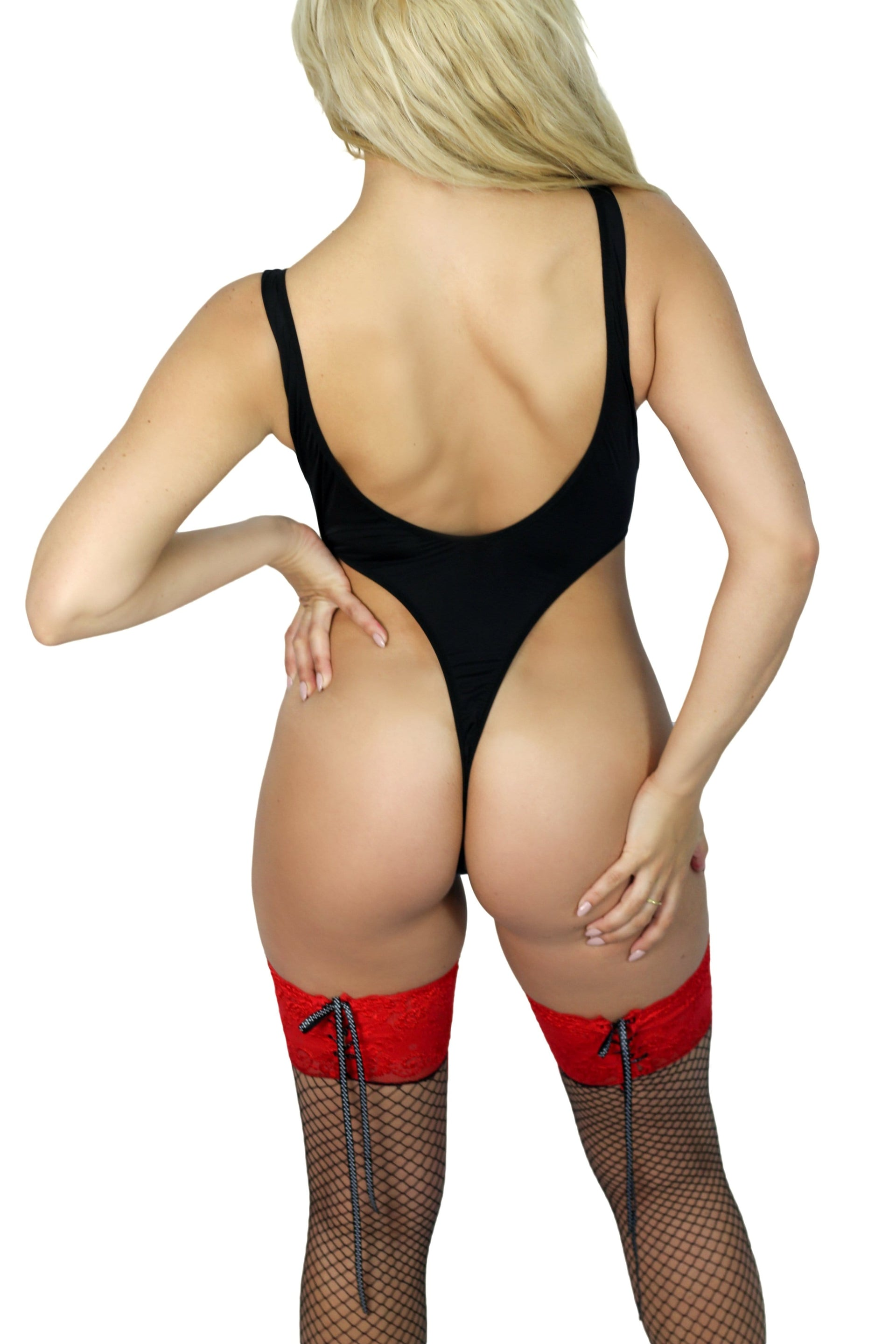 Mulan rouge thigh-high fishnet stockings - Cali Diamond