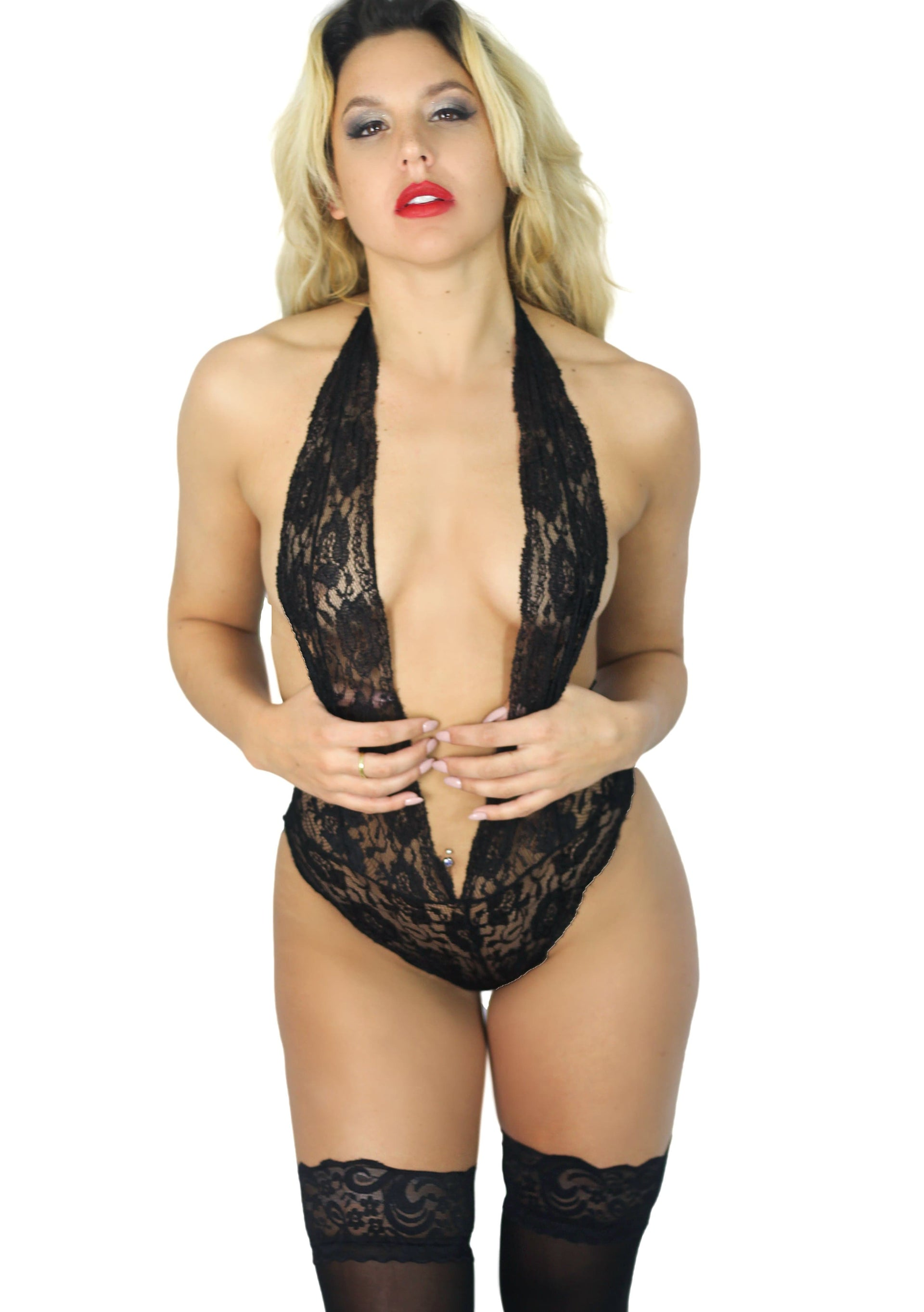 Red & Black Lace Sexy lingerie teddy - Cali Diamond