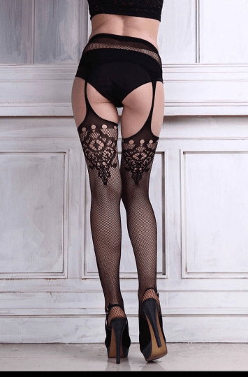 Garter Belt Fishnet Jacquard Stockings - Cali Diamond