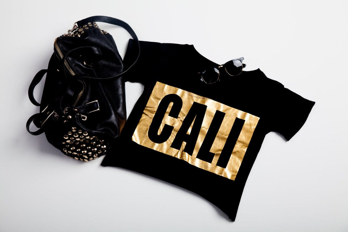 cali gold crop-top tee black tee with gold foil graphic -crop-tops - Cali Diamond
