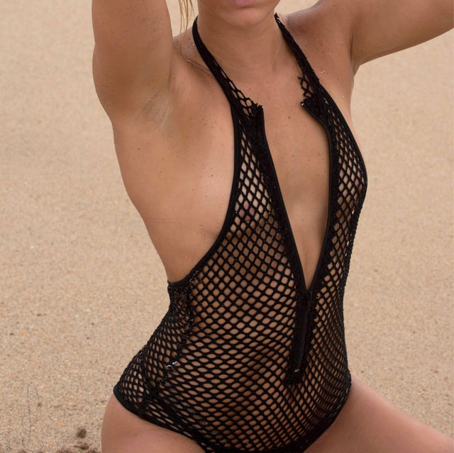 Womens sexy sheer mesh bodysuit and Sexy sheer mesh bondage  Lingerie / teddy - Cali Diamond