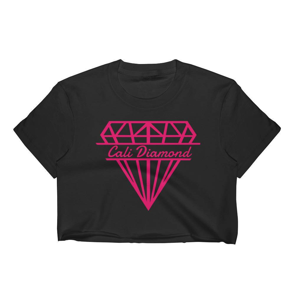 Cali Diamond Logo Print Graphic Cropped Tee, black with pink logo print Women's Crop Top -crop-tops - Cali Diamond