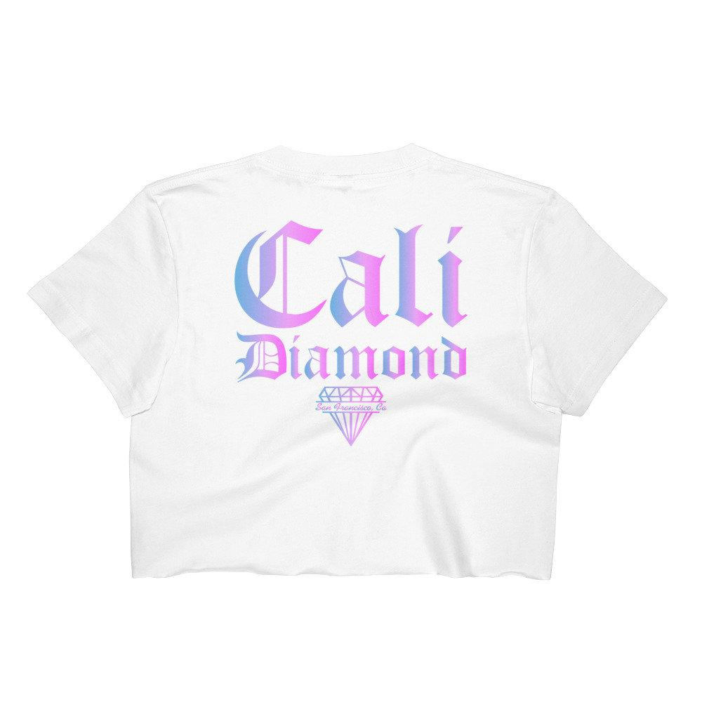 Pink and Blue Ombre CD Women's Crop Top -crop-tops - Cali Diamond
