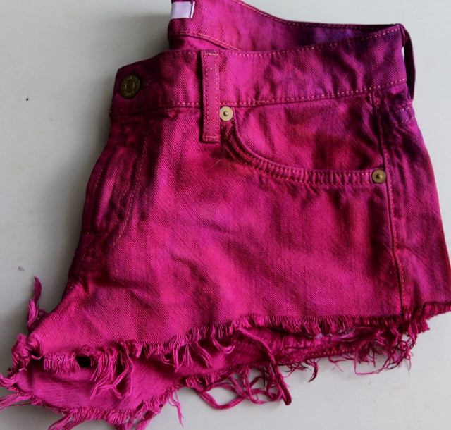 Burgundy Red Dyed Upcycled Denim Shorts