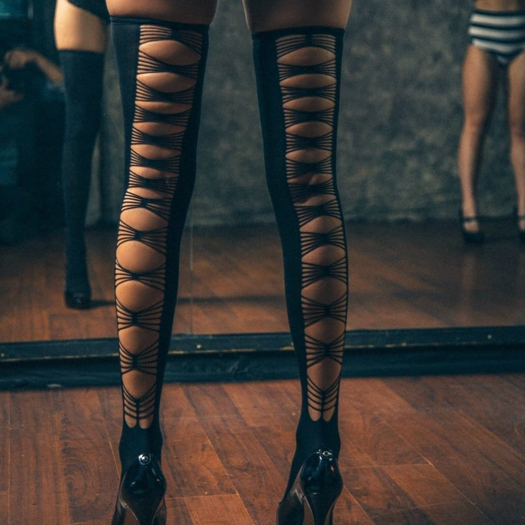 Backless-Slit Thigh-High Black Stockings -socks, thigh-high, stockings, lingerie - Cali Diamond