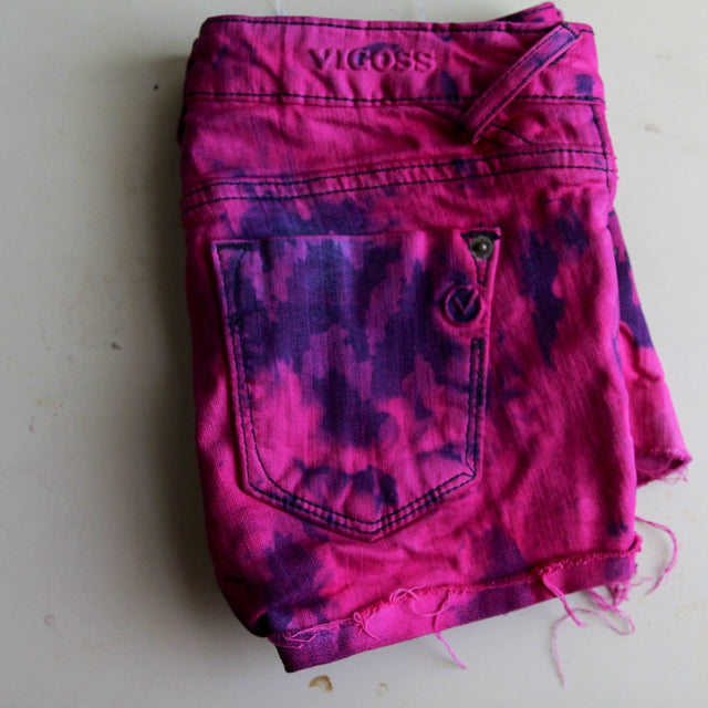 Hot pink acid wash upcycled denim shorts