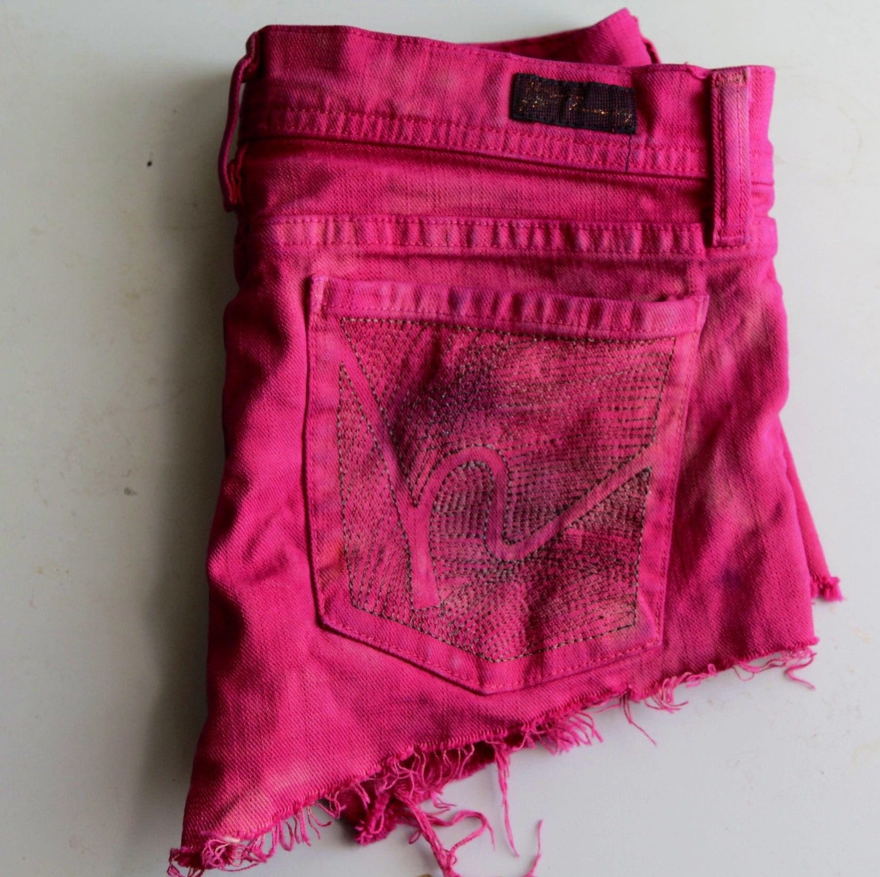 Citizens for humanity upcycled red cut-off denim shorts