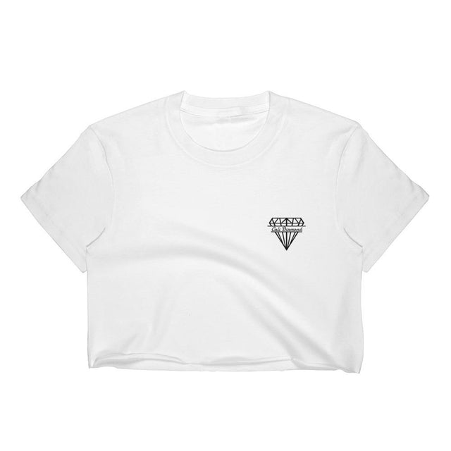 Cali Diamond White Crop-top with Small Diamond Graphic - Cali Diamond