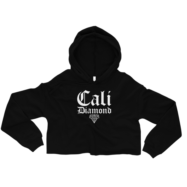 Cali Diamond Black Cropped Hoodie with white graphics - Cali Diamond