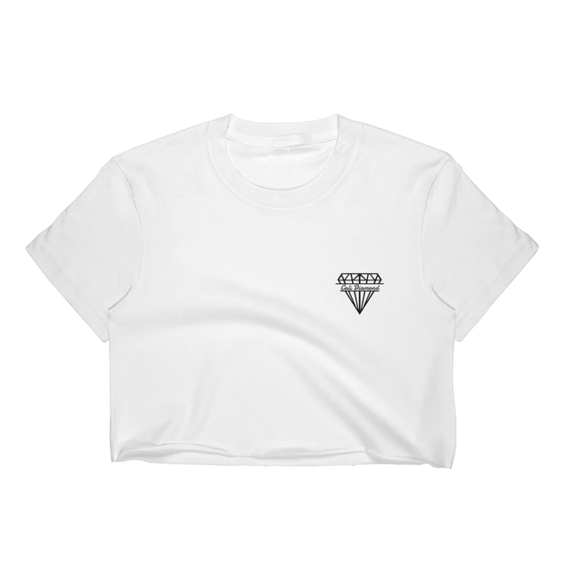 Women's white Crop Top tee with small cali diamond logo - Cali Diamond