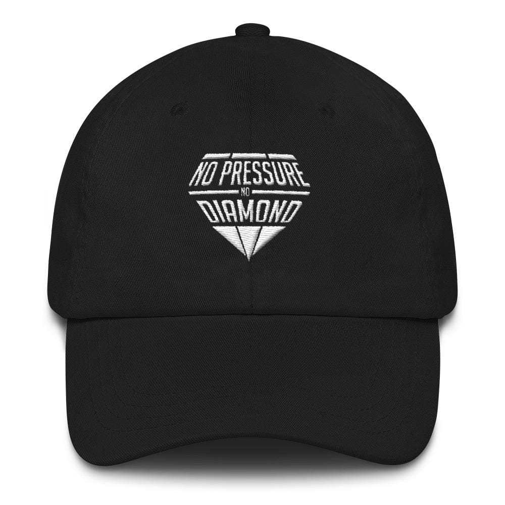 Dad hat - no pressure no diamond Black with White embroidery - Cali Diamond
