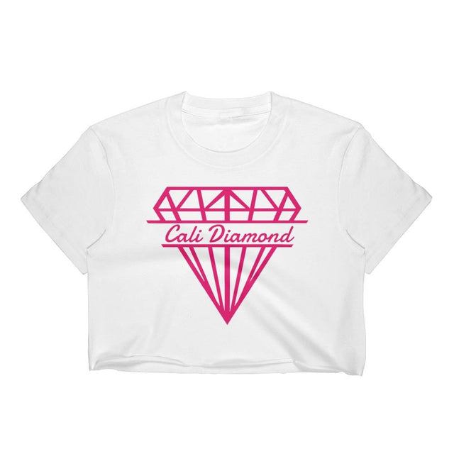 White croptop With Cali pink Logo Women's Crop Top - Cali Diamond