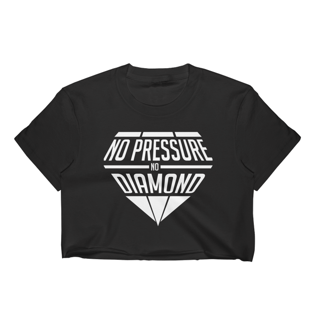 No Pressure No Diamond Women's Black Crop Top T-Shirt w/ White Graphics - Cali Diamond