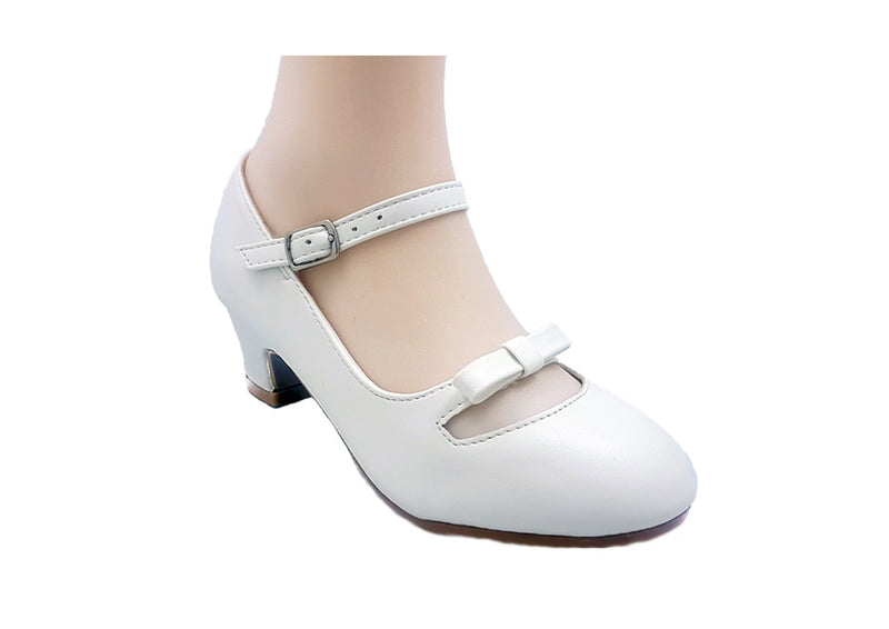 Jolene White With Heel/Bow