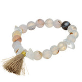 Healing Jewelry. Clear and brown moss Quartz crystal bracelet and tassel charm.