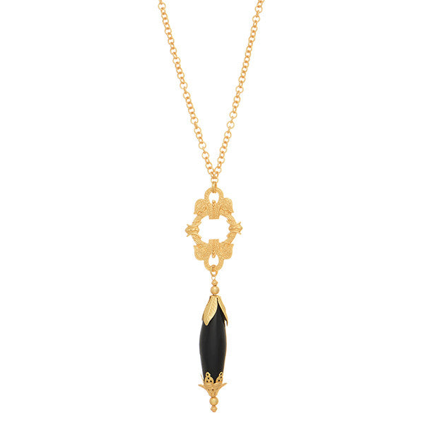 Gold matte necklace with vintage pendent and black onyx healing stone.