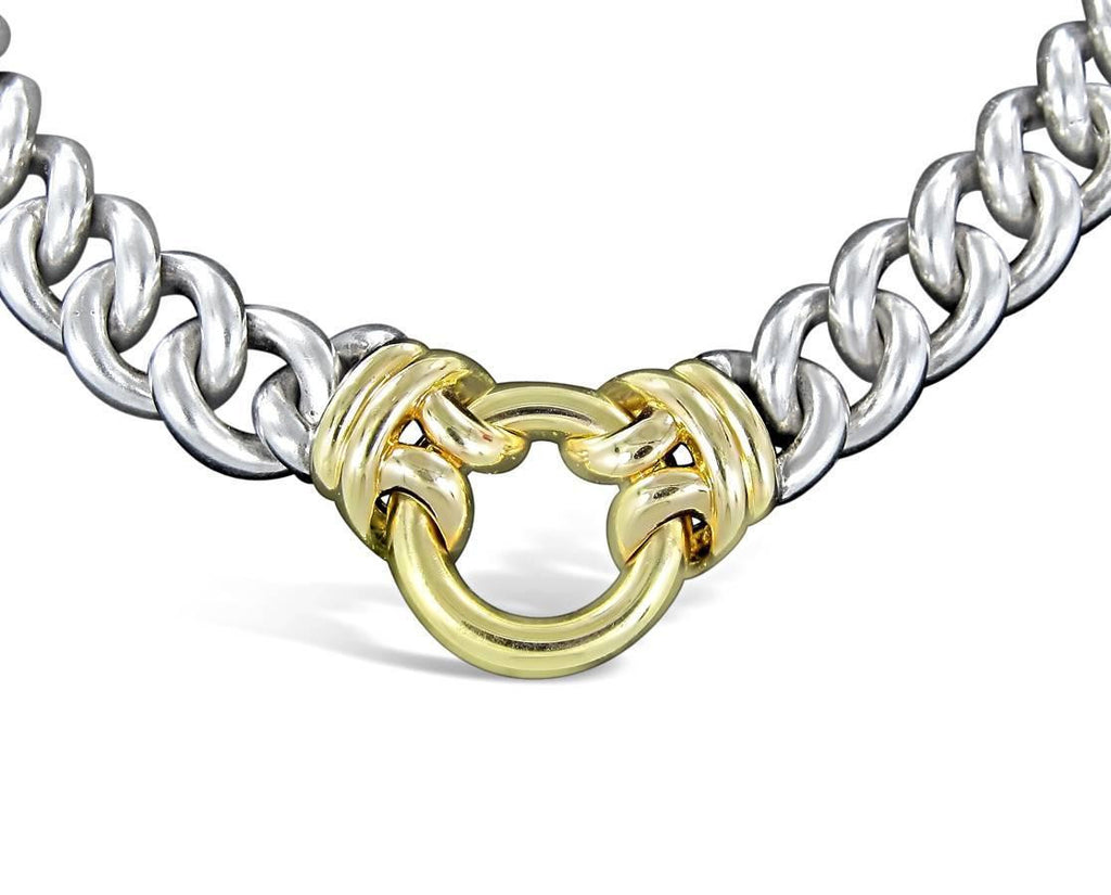 Hermes Gold and Steel Link Necklace