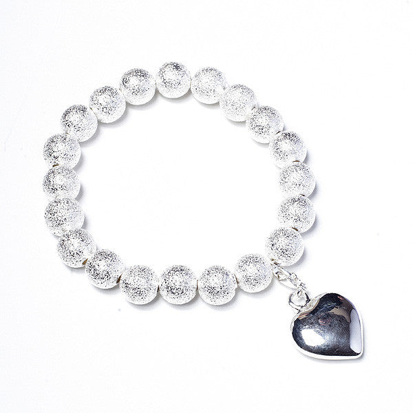 Crunch Silver Bracelet with Heart Charm