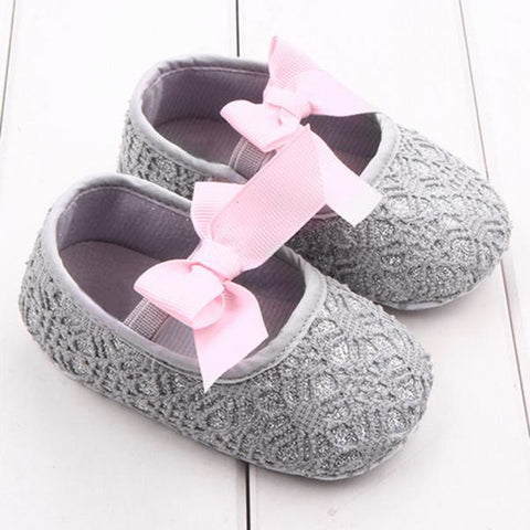 Baby Shoes Sequins Fretwork Floral Princess First