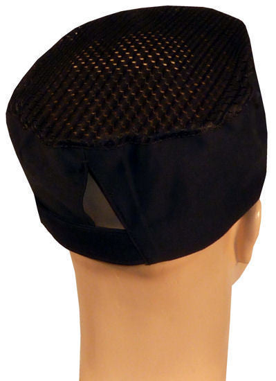 Chef's Beanie Velcro Back Airflow Mesh w/Sweatband, Black or White - The Chef Hat - 1