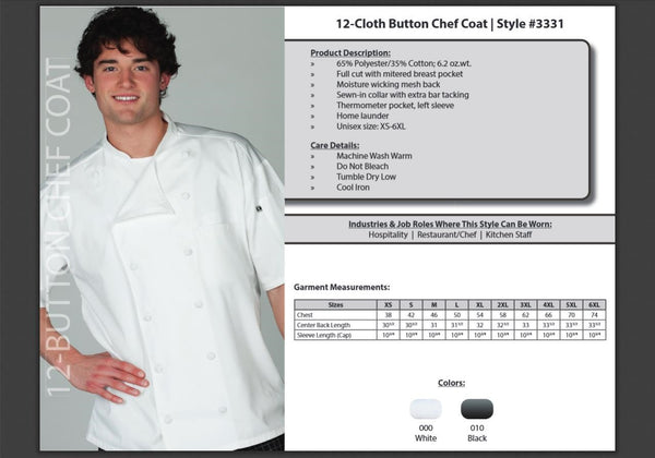 Edwards Garment 12-Button Moisture Wicking Short Sleeve Chef Coat - The Chef Hat - 3
