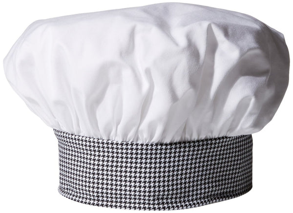 Twill Chef's Toque Hat - White/Houndstooth Trim - The Chef Hat - 1