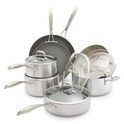 GreenPan Diamond Clad Ceramic Nonstick 10-Piece Cookware Set with Bonus Steamer