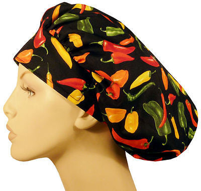Bouffant Cap w/Sweatband, Mixed Chili Peppers or Black - MADE IN THE USA! - The Chef Hat - 1