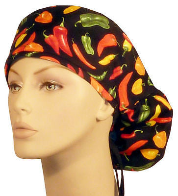 Big Hair Cap, Mixed Chili Peppers w/Sweatband - MADE IN THE USA! - The Chef Hat