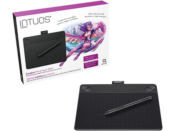 Wacom Intuos Comic Creative Pen & Touch Tablet Small (Black) CTH490CK - CoolGraphicStuff.com