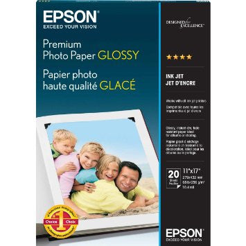 S041290 - Epson Premium Photo Glossy Paper 11 in. x 17 in., 20 sheets - CoolGraphicStuff.com